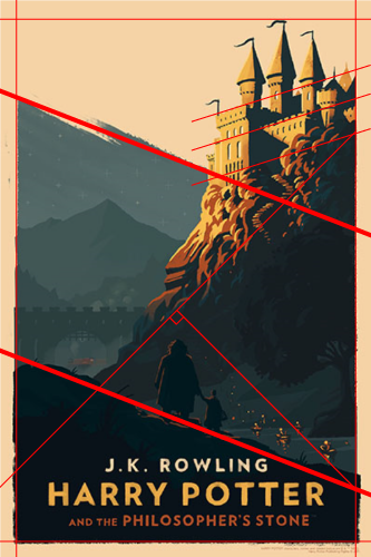 Harry Potter cover image with red lines depicting diagonal features