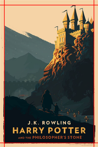 Harry Potter cover image with red lines depicting margins