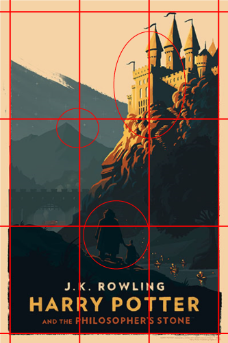 Harry Potter cover with a grid of thirds overlay